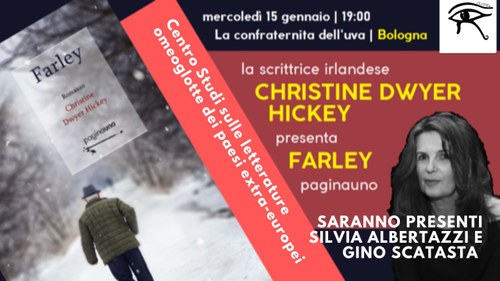 locandina della presentazione di Farley con l'autrice, Silvia Albertazzi e Gino Scatasta