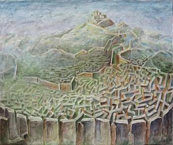 Emiliano Alberti - LONTANO, Acrilici, stucco, pastelli a olio su tela, cm 120x100, 2014